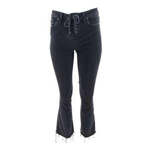 PAIGE Colette Crop Flare Jeans Vintage Black Sz 26